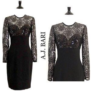 A.J. Bari Vintage Black Sequin Cocktail Dress